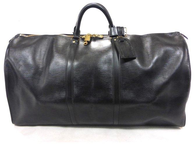 Sacs de voyage Louis Vuitton KEEPALL 60 CUIR EPI NOIR Cuir Noir ref.145186
