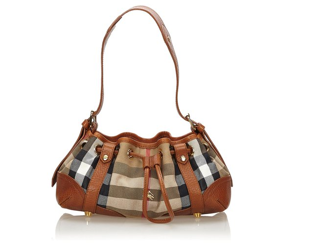 Burberry Burberry Brown Plaid Jacquard Shoulder Bag Handbags Leather,Other,Cloth Brown,Multiple colors ref.145282
