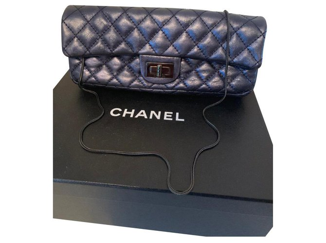 Chanel 2.55 Handbags Leather Blue,Metallic ref.145533