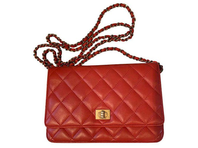 Chanel 2.55 WOC Handbags Leather Red ref.145541