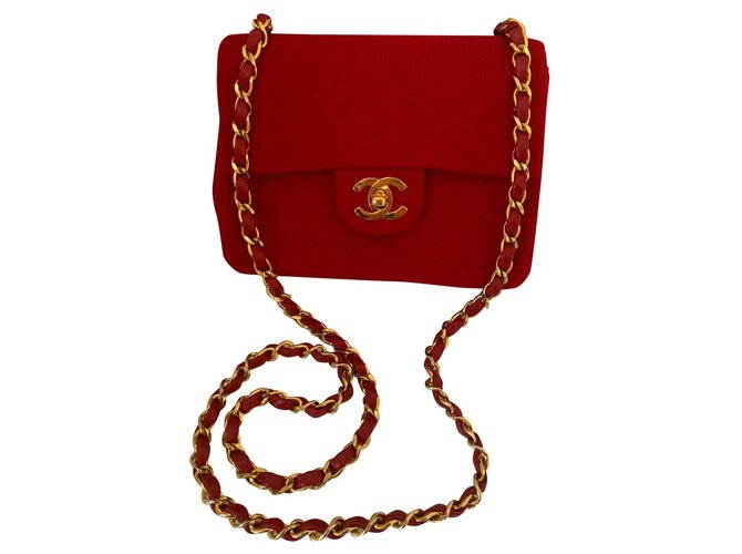Chanel classical Handbags Cotton,Wool Red ref.145669