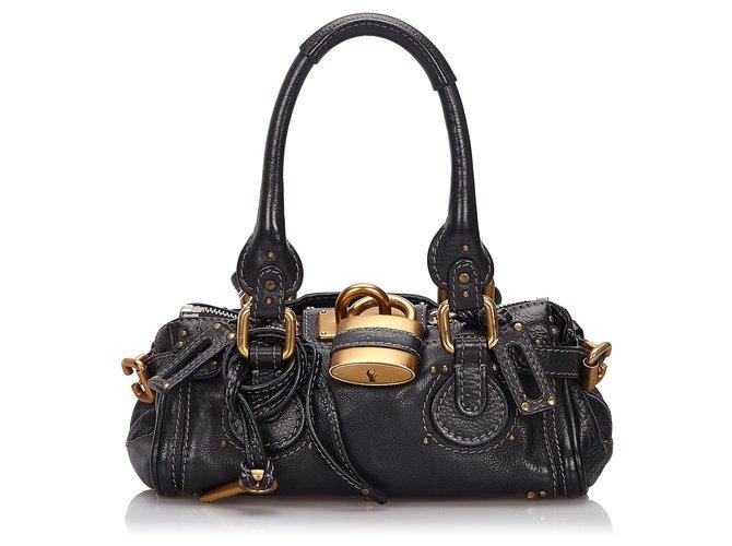 Chloé Chloe Black Leather Paddington Handbag Handbags Leather,Other Black ref.145820
