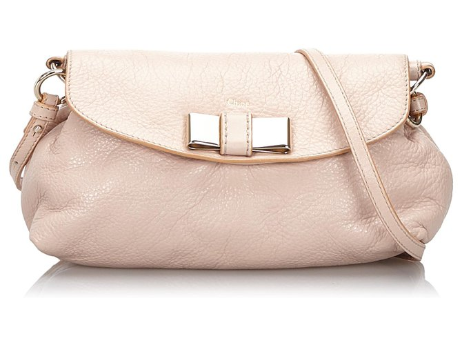 Chloé Chloe Pink Leather Lily Bow Crossbody Bag Handbags Leather,Other Pink,Other ref.145827
