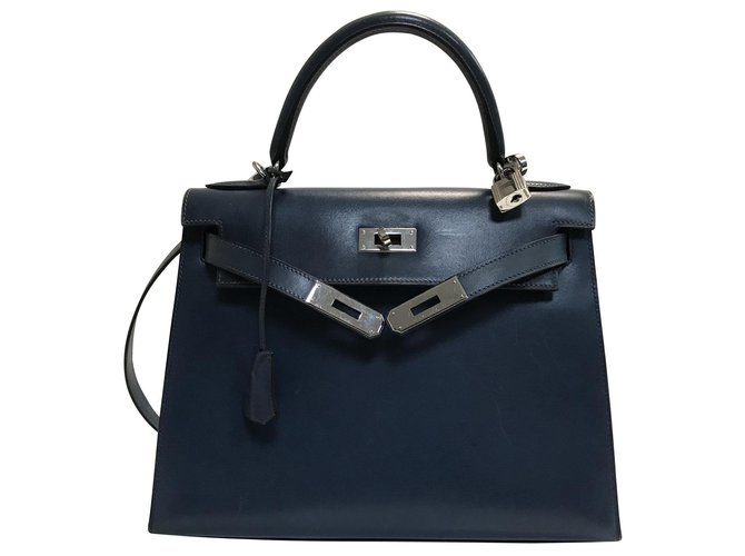 Sacs à main Hermès Kelly 32 Cuir Bleu ref.145947