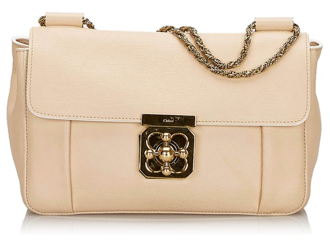 Chloé Chloe Brown Leather Elsie Shoulder Bag Handbags Leather,Other Brown,Beige ref.146069