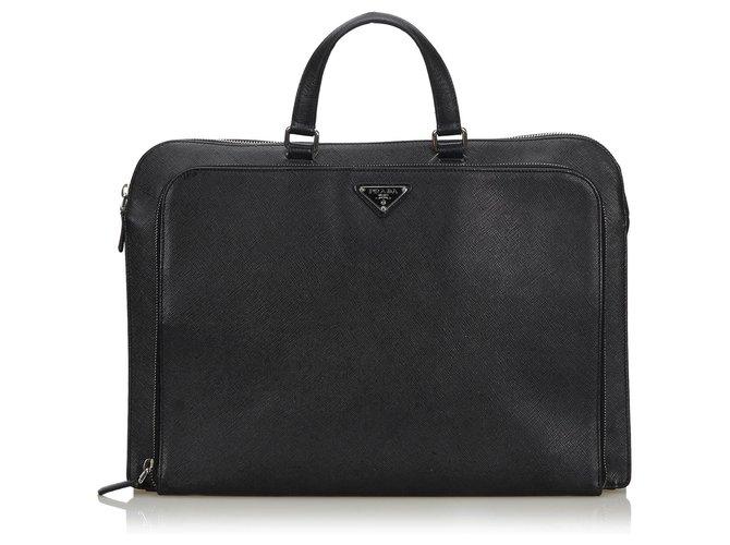 Prada Prada Black Leather Briefcase Misc Leather,Other Black ref.146086