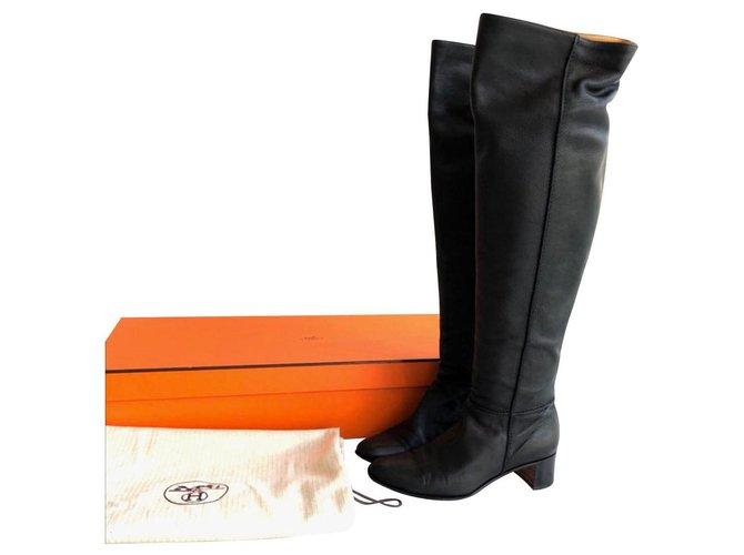 Hermès Hermes black leather boots EU37 Boots Leather Black ref.146114