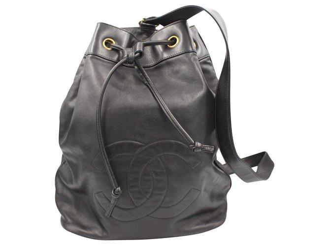 Sacs à main Chanel Cartable Cuir Noir ref.146139