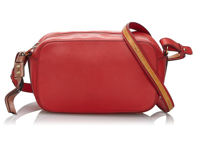Chloé Chloe Red Leather Sam Crossbody Bag Handbags Leather,Other Brown,Red ref.146217