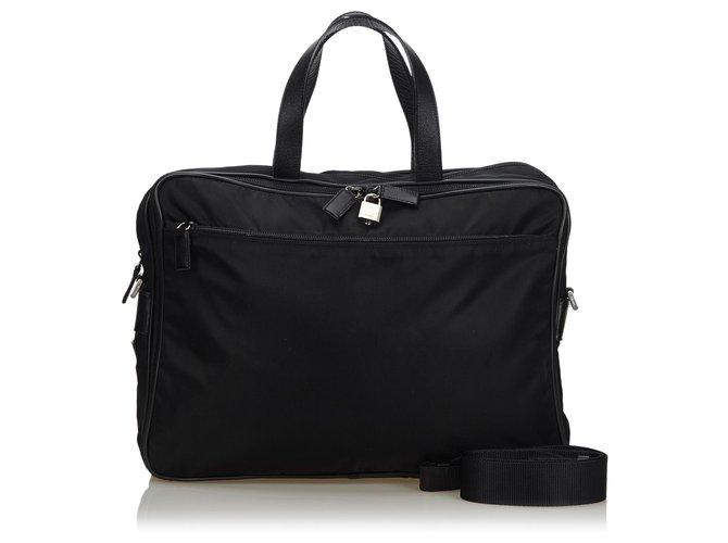 Prada Prada Black Nylon Business Bag Misc Leather,Other,Nylon,Cloth Black ref.146227