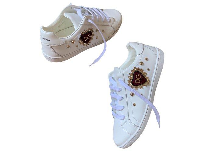 Baskets enfant Dolce & Gabbana sneakers Cuir Blanc ref.146353