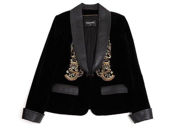 Chanel BLACK VELVET LEATHER FR40/42 Jackets Leather,Velvet Black ref.146391