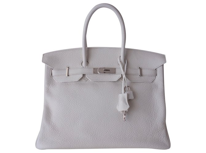 Hermès HERMES BIRKIN BAG 35 Handbags Leather White ref.146403