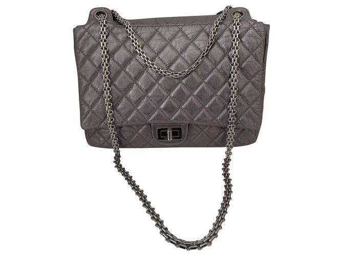 Chanel Chanel 2.55 Handbags Leather Silvery ref.146475