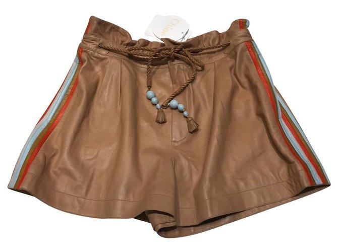 Chloé Shorts Shorts Lambskin Caramel ref.146531