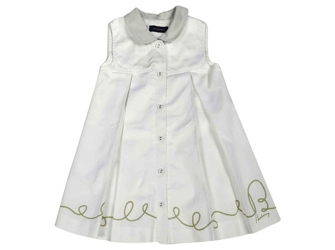 Robes fille Burberry Robes Coton Blanc ref.146698