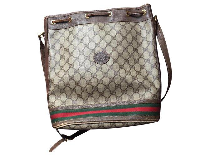 Gucci Gucci bucket bag Handbags Leather Brown ref.146846