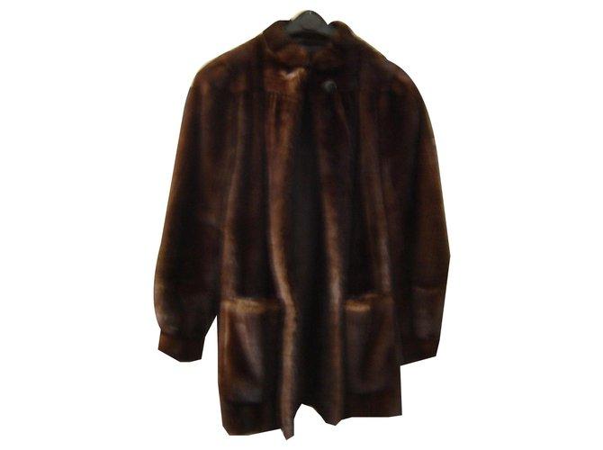 Yves Salomon Coat 3/4 mink Coats, Outerwear Fur Dark brown ref.146904