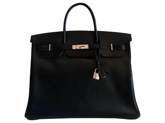 Sacs à main Hermès Hermes Birkin 40 Cuir Box Noir Cuir Noir ref.146962