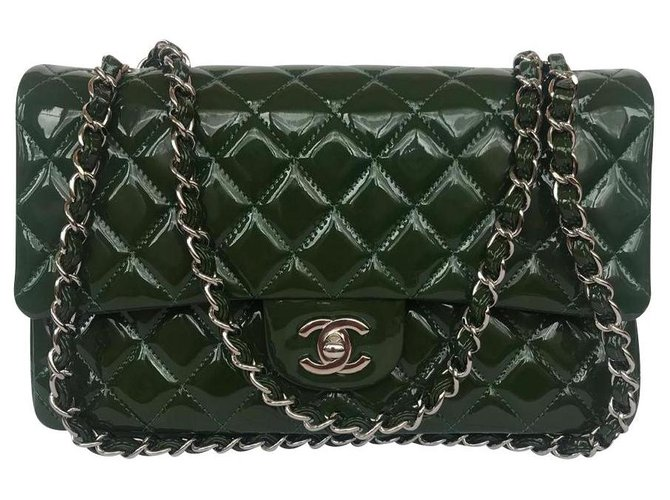 Chanel TIMELESS Handbags Patent leather Green,Dark green ref.147183