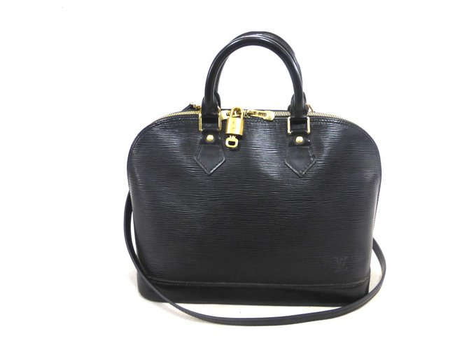 Sacs à main Louis Vuitton ALMA PM CUIR EPI NOIR + BANDOULIERE Cuir Noir ref.147266