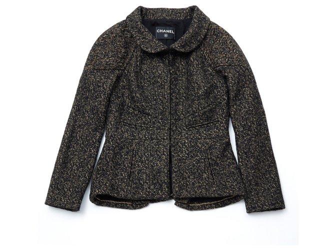 Chanel BLACK GOLD TWEED FR36 Jackets Wool Black,Golden ref.147358