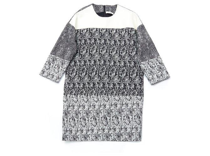 Céline BLACK WHITE FR38 Phoebe Philo Dresses Leather,Cotton Black,Cream ref.147389