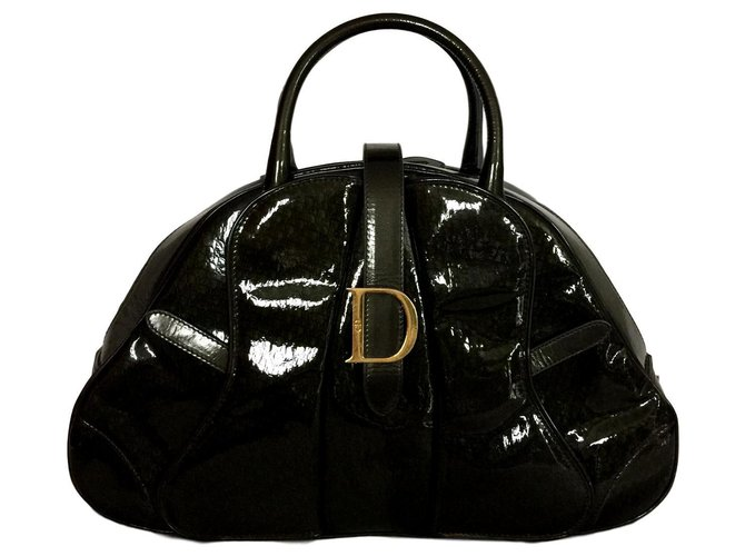 Dior Saddle Handbags Patent leather Khaki ref.147426