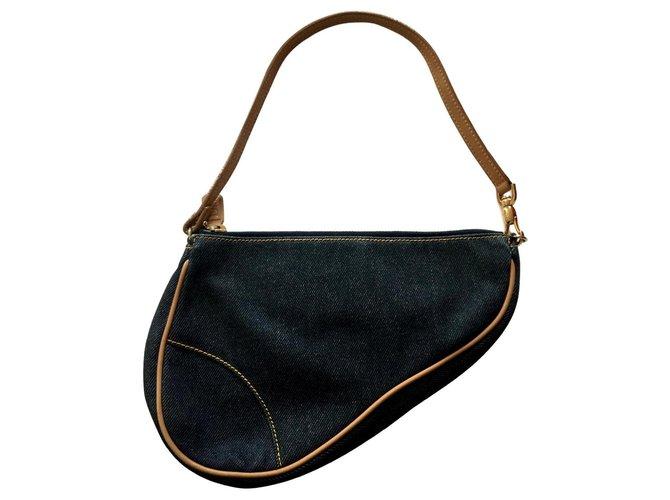 Dior Saddle Handbags Cloth Navy blue ref.147430