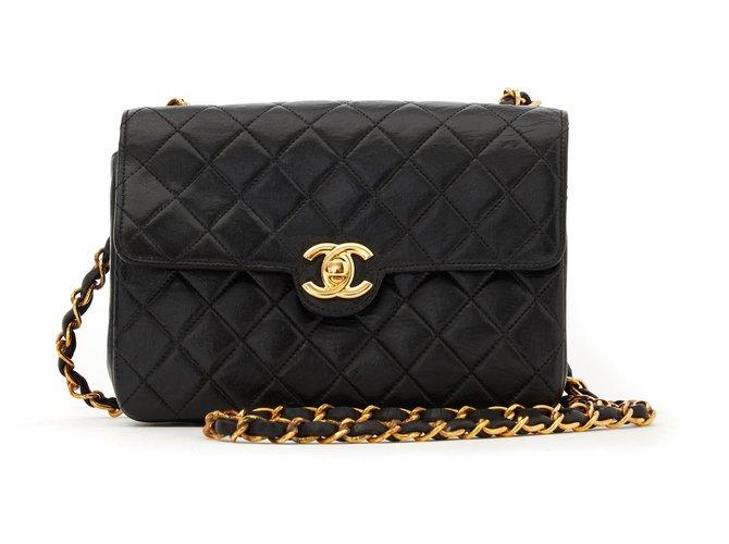 Chanel TIMELESS CLASSIC BLACK 18 Handbags Leather,Metal Black,Golden ref.147499