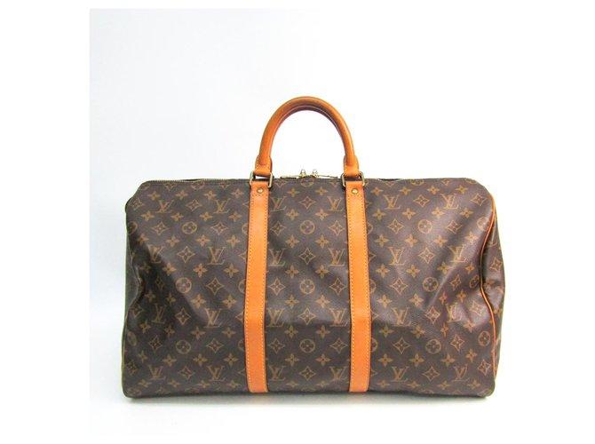 Sacs de voyage Louis Vuitton Louis Vuitton Keepall Monogram Brown 50 Cuir,Toile Marron ref.147523