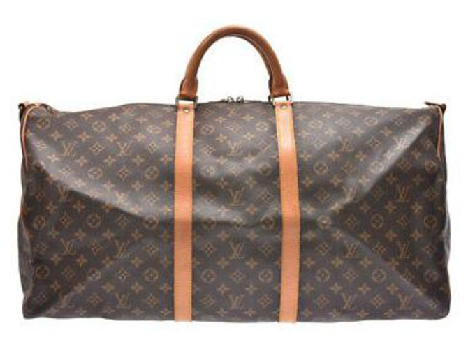 Sacs de voyage Louis Vuitton Louis Vuitton Keepall Bandouliere 60 Toile Marron ref.147978