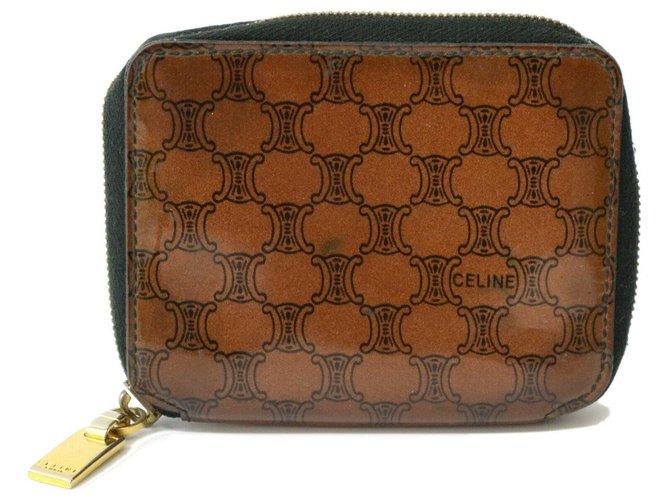 Céline Céline Macadam Wallet Purses, wallets, cases Patent leather Brown ref.148401