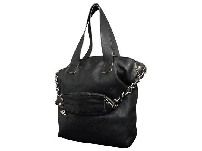 Sacs à main Chanel Chanel Vintage Sac à bandoulière Cuir Noir ref.148647