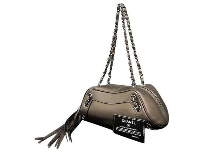 Sacs à main Chanel Chanel Vintage Sac à bandoulière Métal Taupe ref.148696