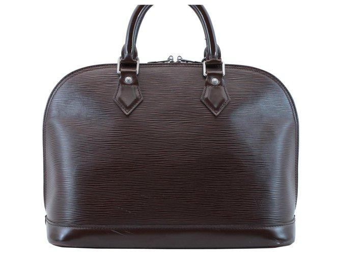 Sacs à main Louis Vuitton Louis Vuitton Alma Cuir Marron ref.148815