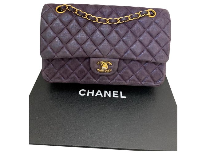 Chanel TIMELESS Handbags Leather Purple ref.148849