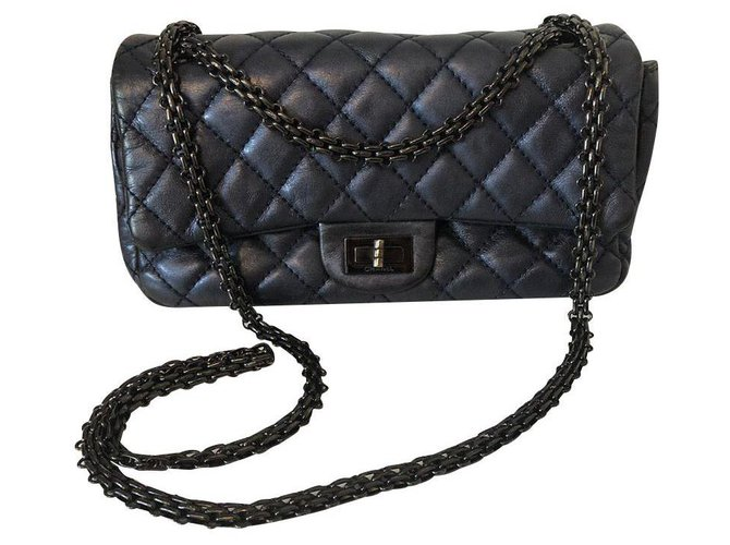 Chanel 2.55 Handbags Leather Blue,Metallic ref.148940