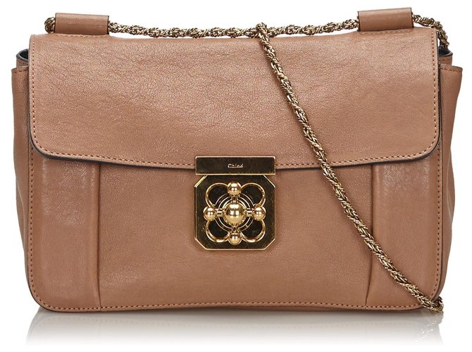 Chloé Chloe Brown Leather Elsie Shoulder Bag Handbags Leather,Other Brown,Beige ref.149048