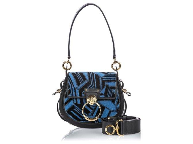 Chloé Chloe Blue Small Patchwork Velour Tess Crossbody Handbags Leather,Other,Velvet,Cloth Black,Blue ref.149065