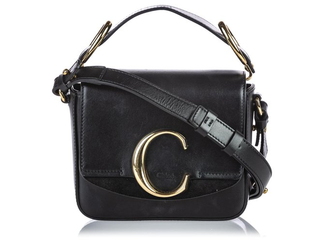 Chloé Chloe Black Leather Mini C Crossbody Handbags Leather,Other Black ref.149094