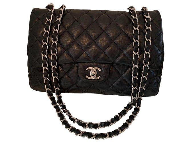 Chanel Jumbo Handbags Leather Black ref.149141