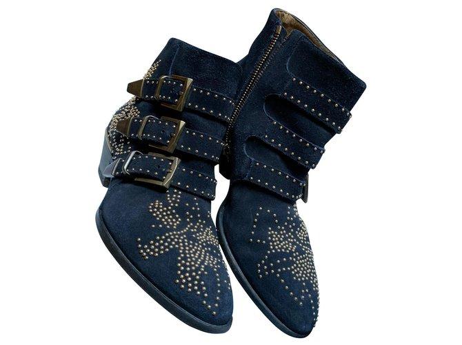 Chloé Suzanne Ankle Boots Deerskin Dark blue ref.149180