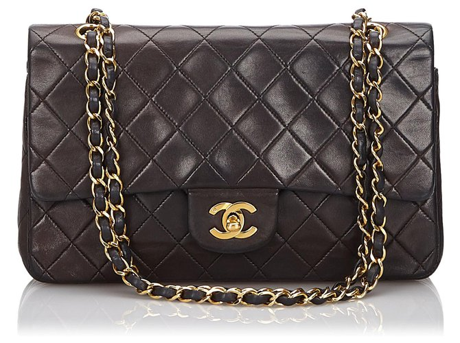 Chanel Chanel Black Medium Lambskin lined Flap Bag Handbags Leather Black ref.149283