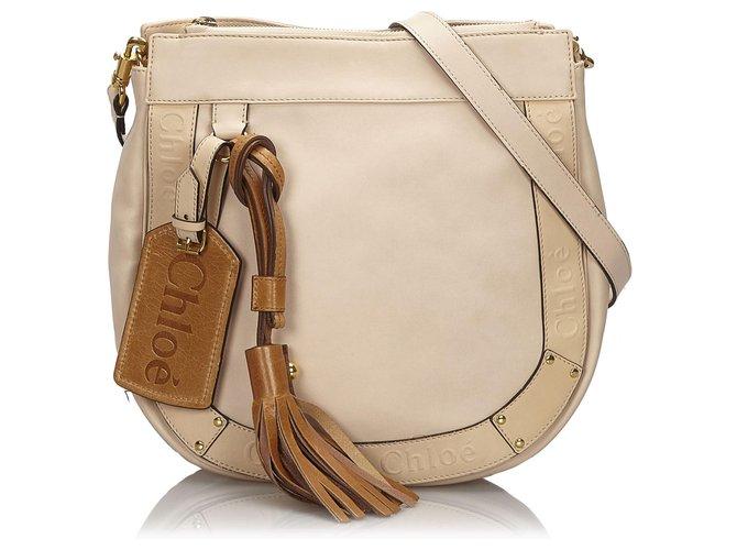 Chloé Chloe Brown Leather Eden Crossbody Bag Handbags Leather,Other Brown,Beige ref.149287