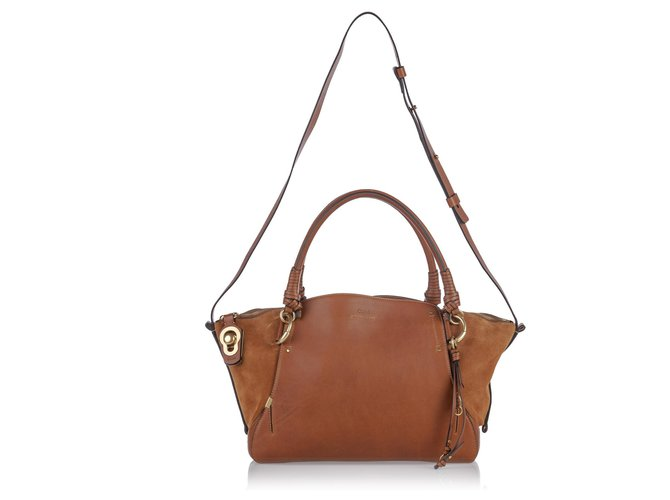 Chloé Chloe Brown Leather Owe Satchel Handbags Suede,Leather,Other Brown,Light brown ref.149302