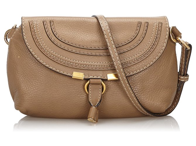 Chloé Chloe Brown Small Leather Marcie Crossbody Bag Handbags Leather,Other Brown,Light brown ref.149311