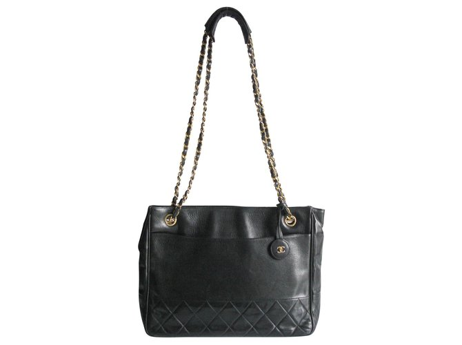 Chanel Chanel Classic Chain Handle Bag Handbags Leather Black ref.149326