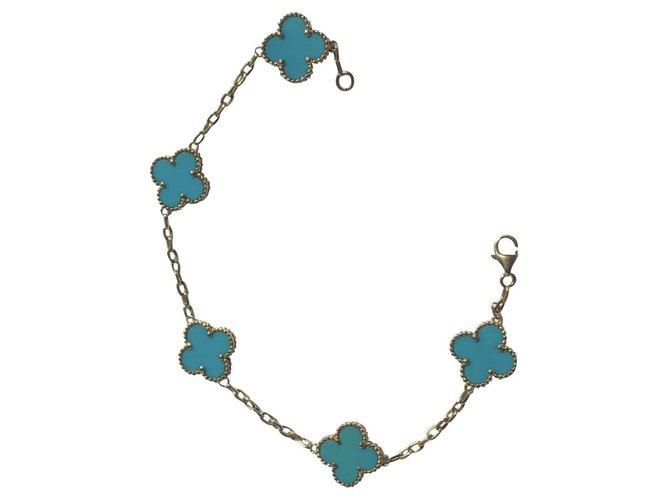 Bracelets Van Cleef & Arpels Alambra Or jaune Bleu ref.149371