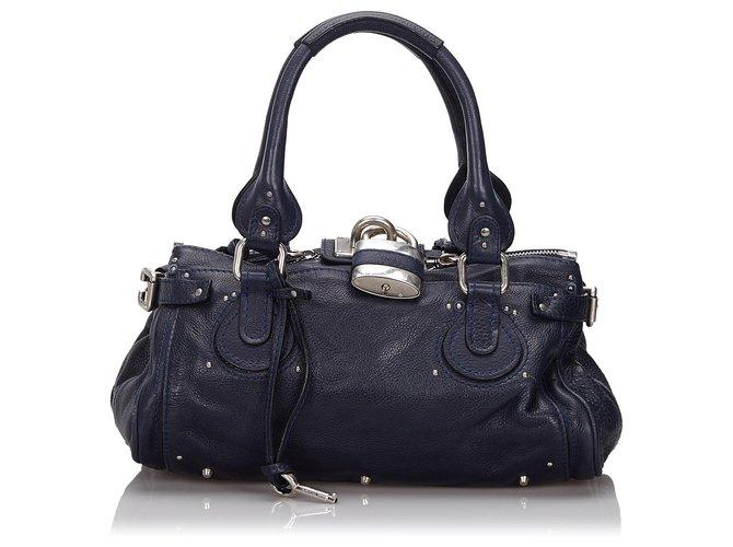Chloé Chloe Blue Leather Paddington Handbag Handbags Leather,Other Blue,Navy blue ref.149418